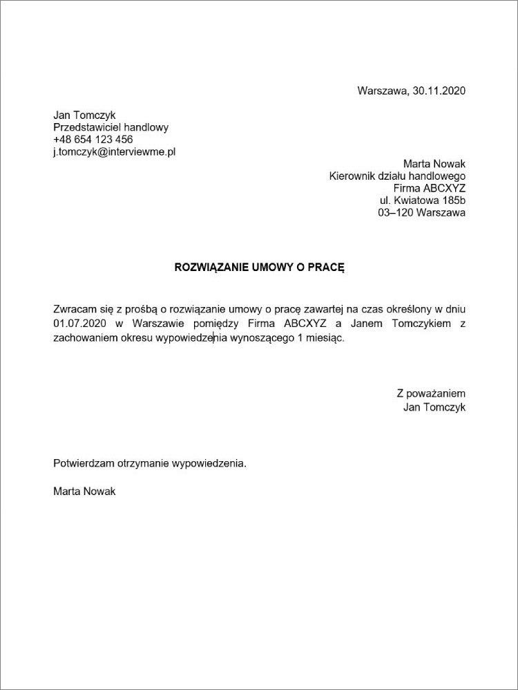 rozwiazanie umowy o prace na czas okreslony