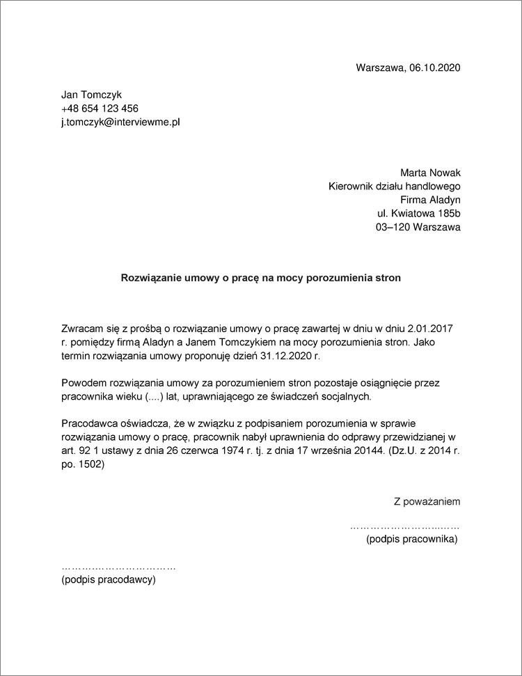 rozwiazanie umowy o prace za porozumieniem stron