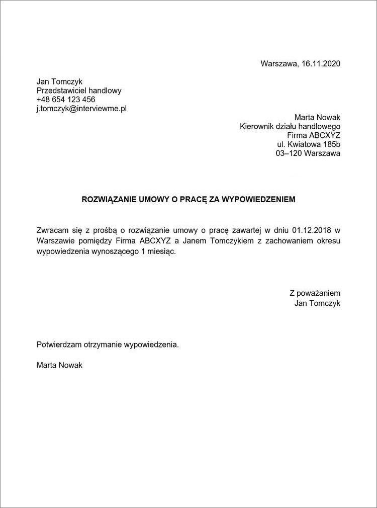 rozwiazanie umowy o prace za wypowiedzeniem przez pracownika