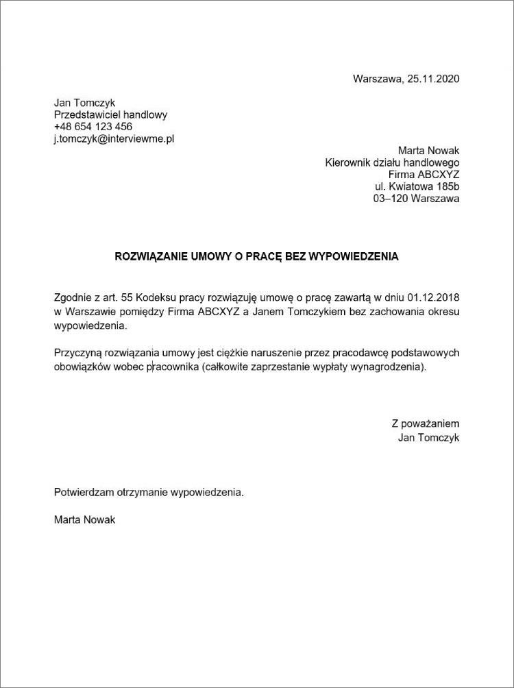 rozwiazanie umowy o prace w trybie natychmiastowym