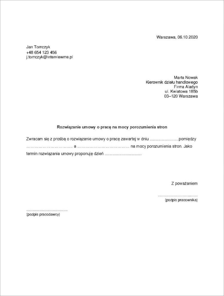 wypowiedzenie umowy o prace za porozumieniem