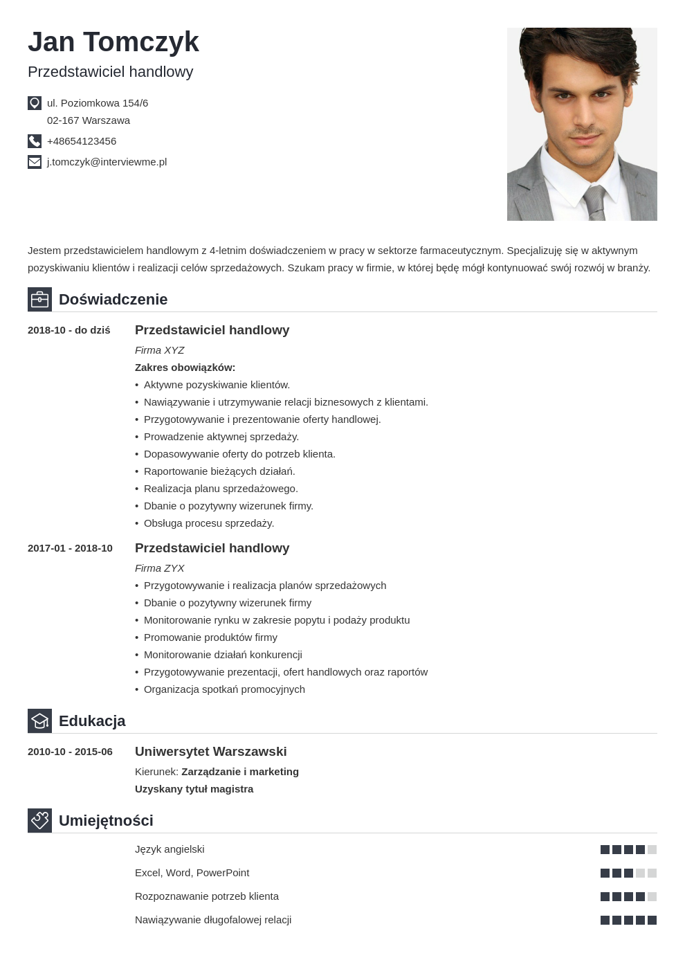 wzory cv template iconic