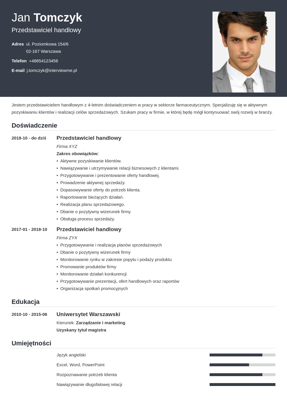 wzory cv template influx