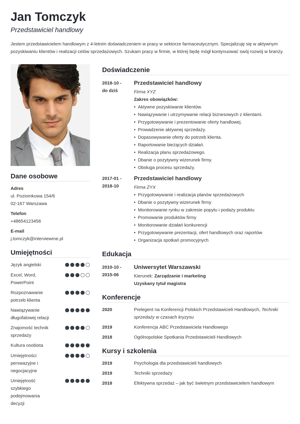 wzory cv template simple
