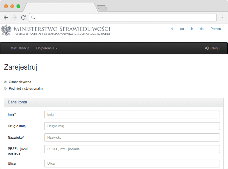 formularz rejestracyjny e-krk