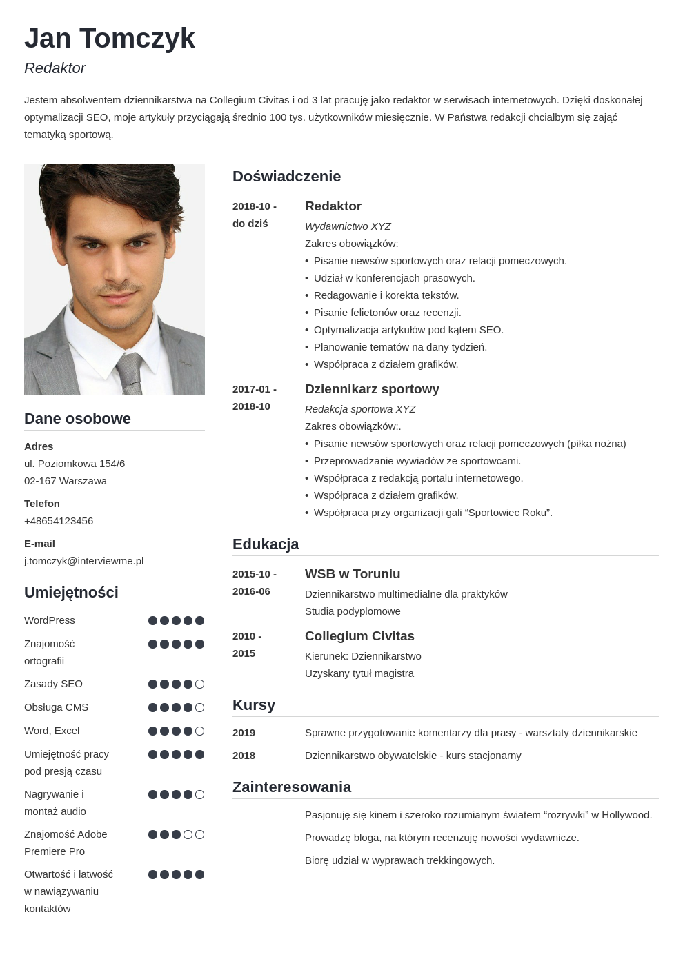 zdjecie do cv template simple