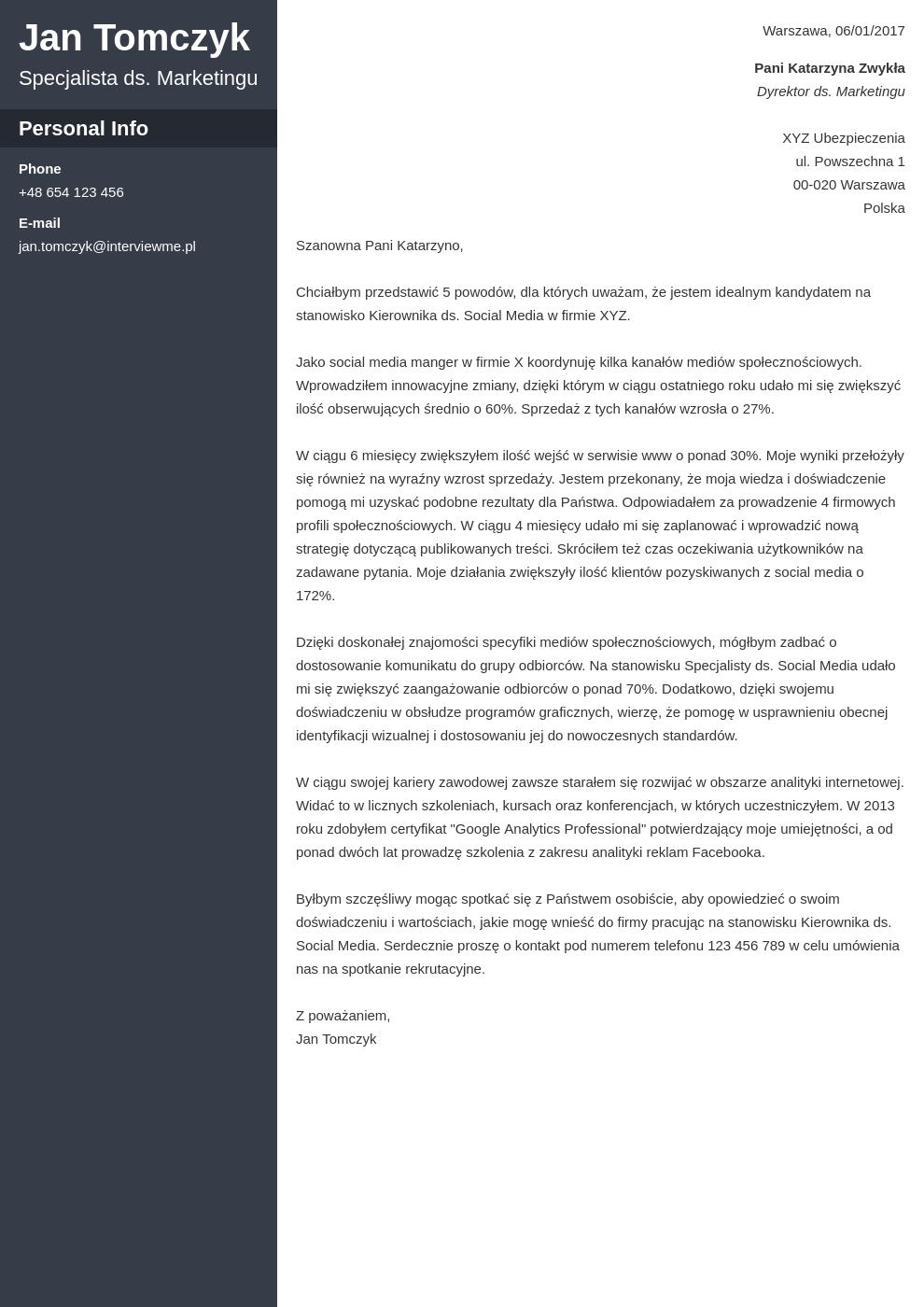Szablon listu motywacyjnego Cascade