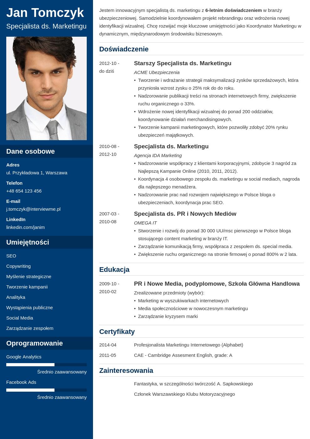 Szablon CV Cascade