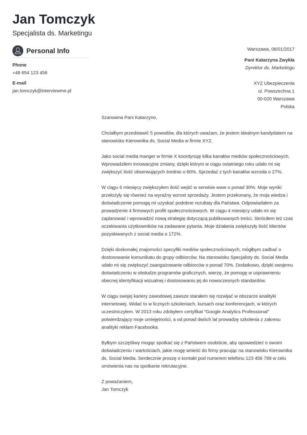 Szablon listu motywacyjnego Crisp