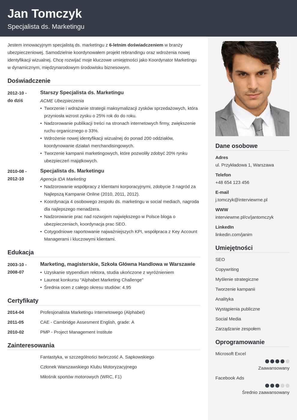 Szablon CV Cubic