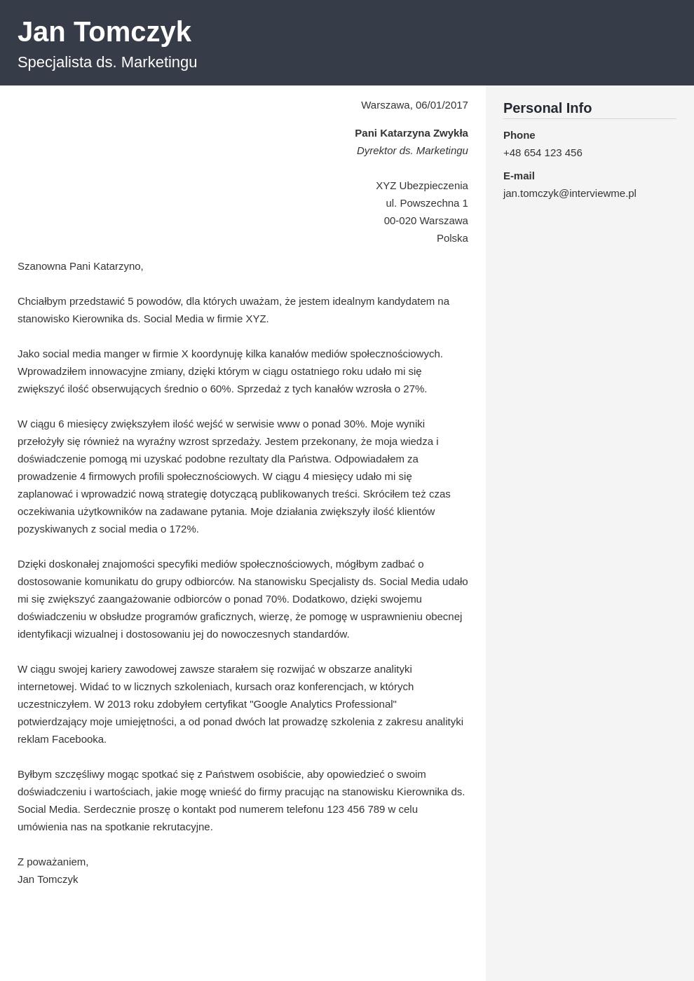 Szablon listu motywacyjnego Cubic