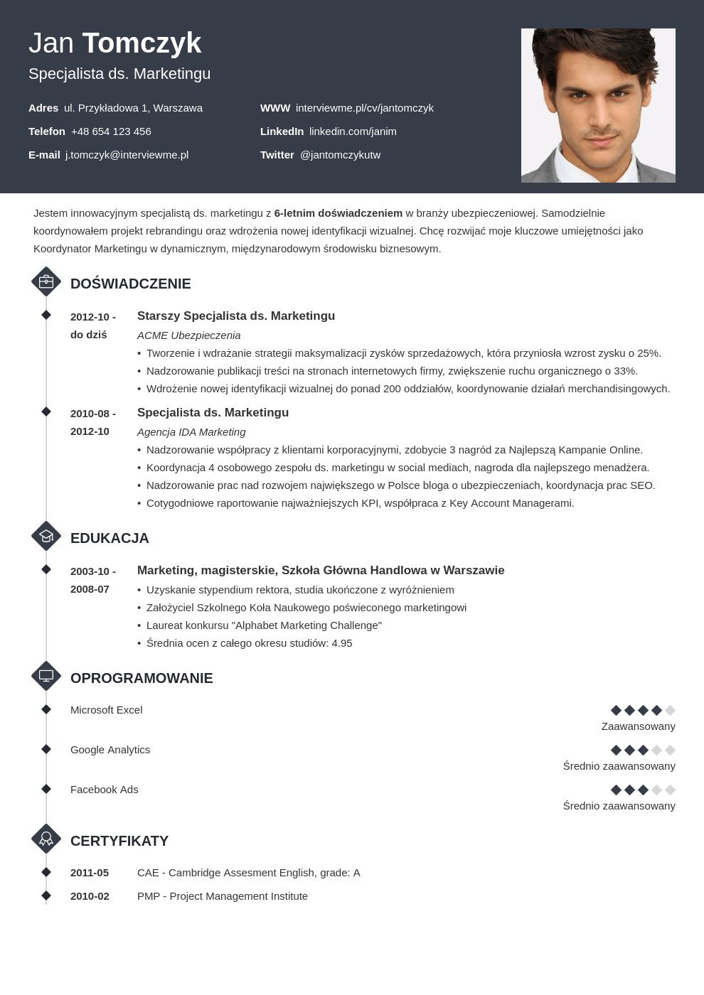 Szablon CV Diamond