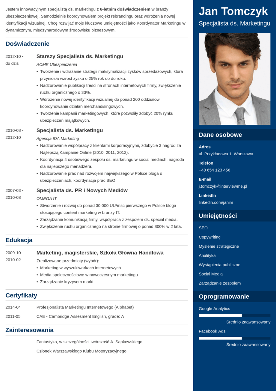 Szablon CV Enfold