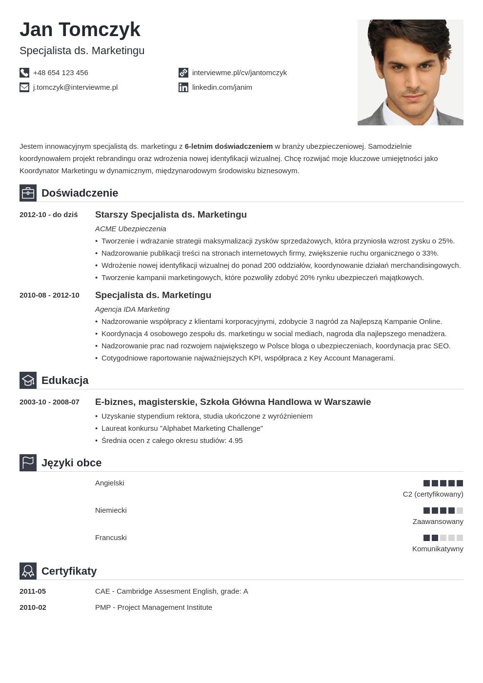 Szablon CV Iconic