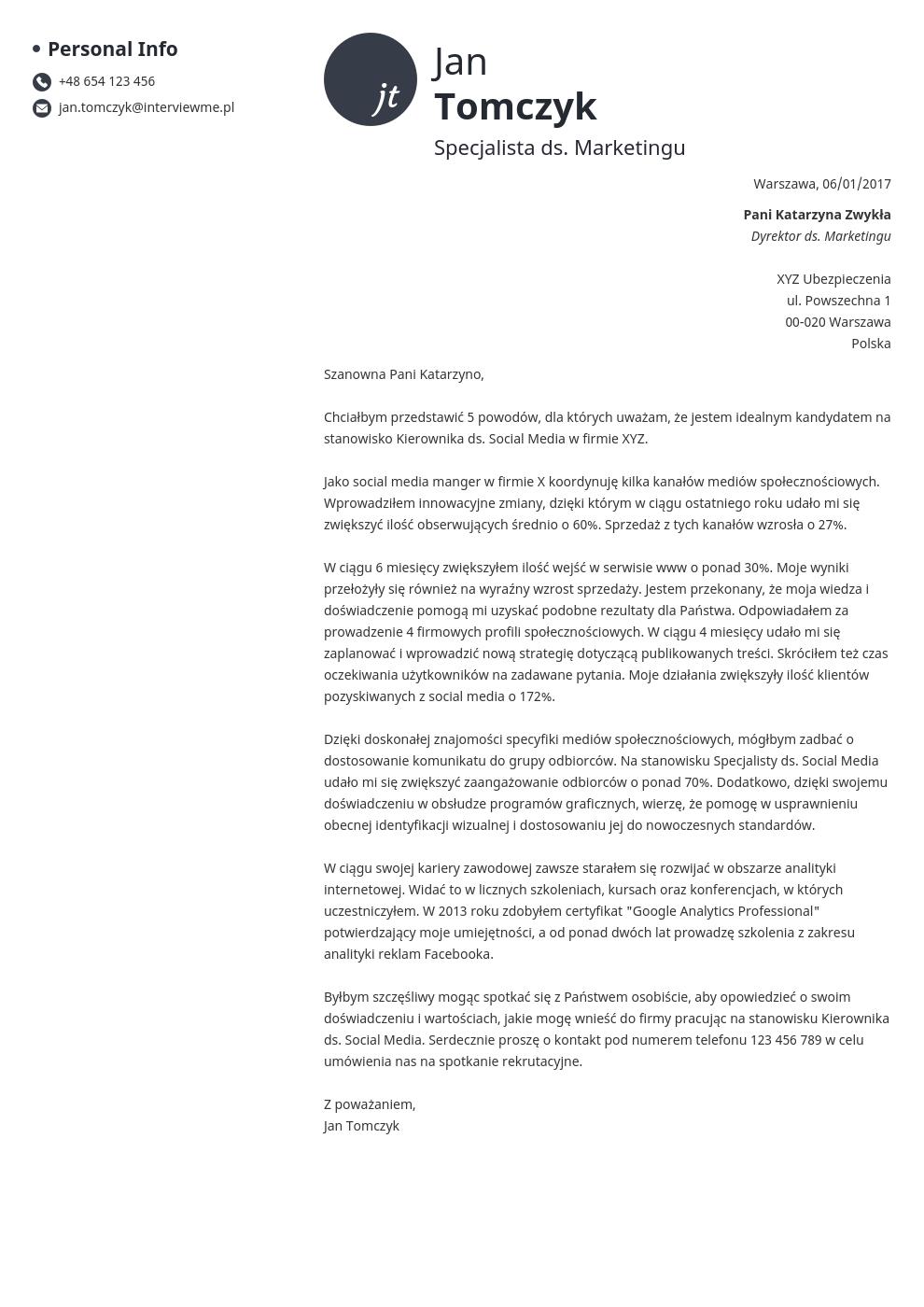 Szablon listu motywacyjnego Initials
