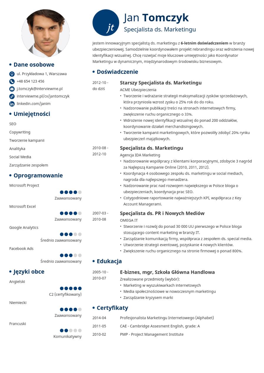 Szablon CV Initials