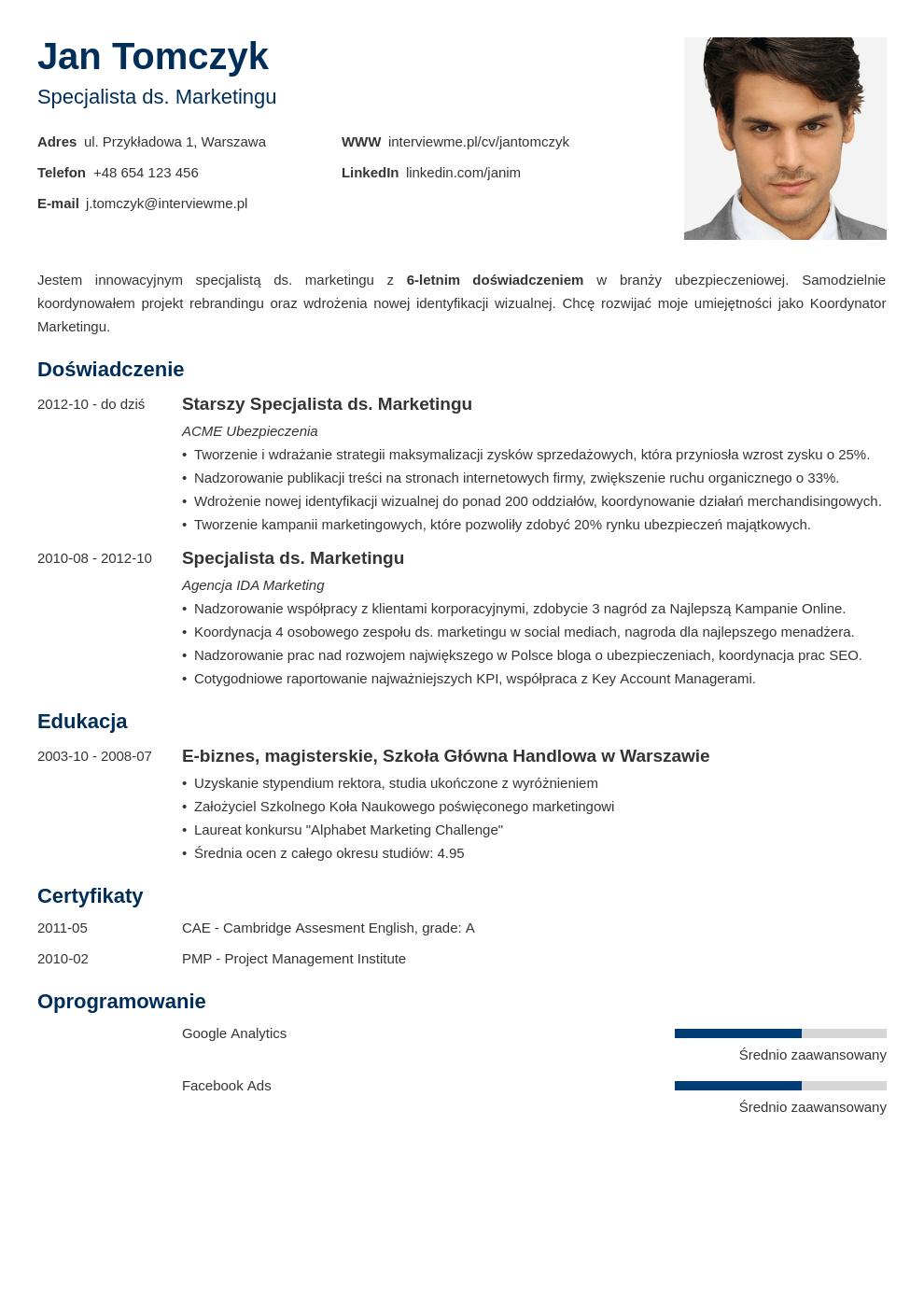 Szablon CV Minimo
