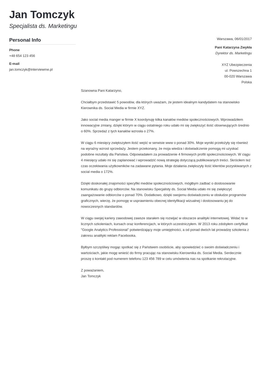 Szablon listu motywacyjnego Muse