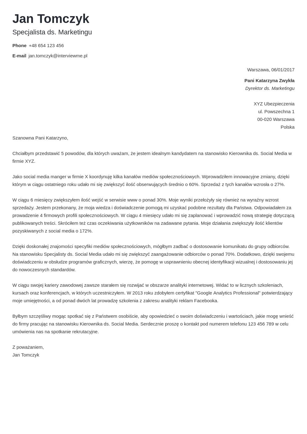 Szablon listu motywacyjnego Nanica