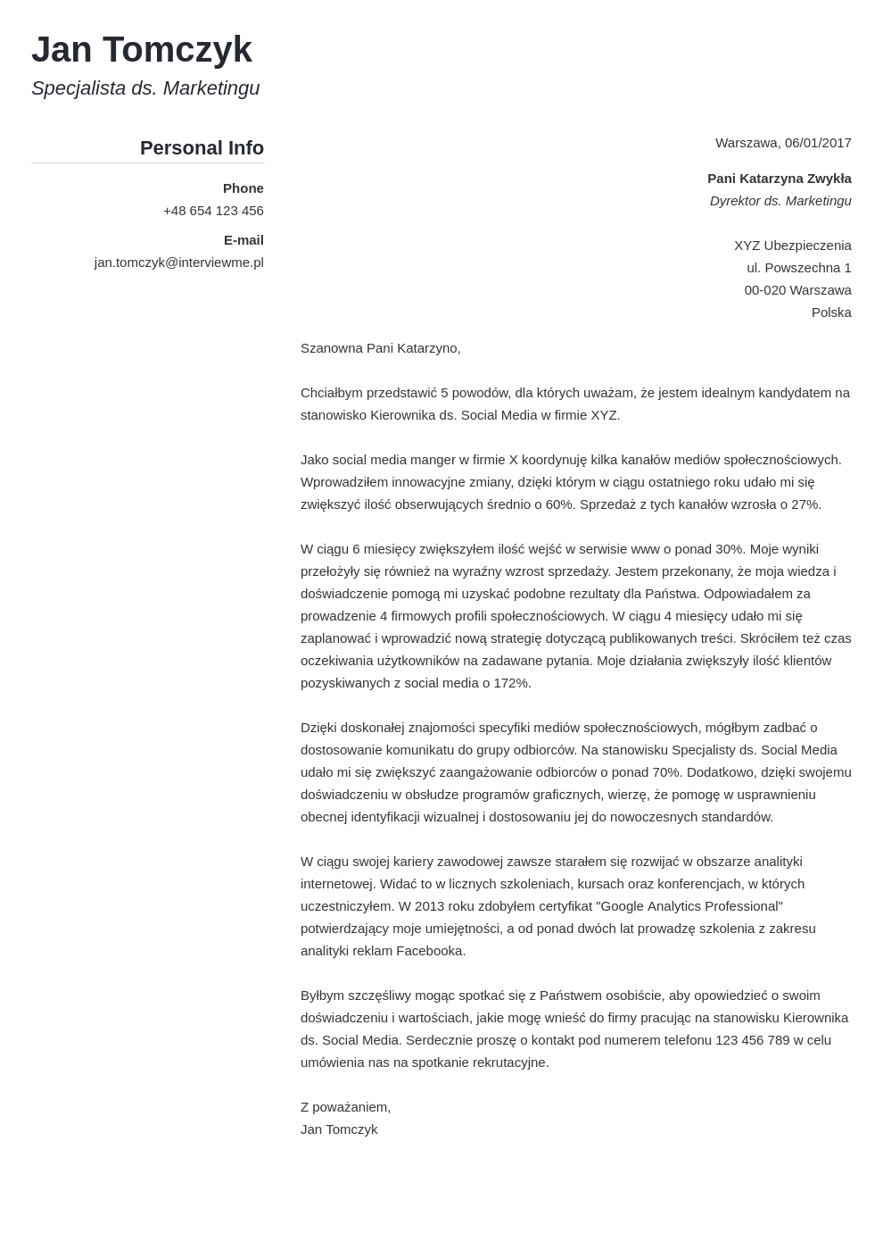Szablon listu motywacyjnego Simple