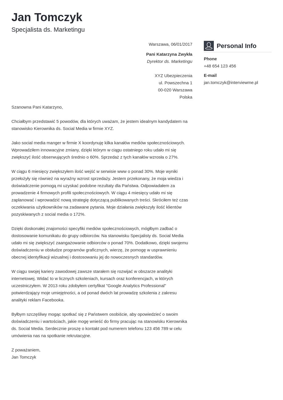 Szablon listu motywacyjnego Vibes